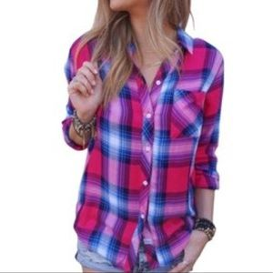 pink/blue RAILS flannel shirt S M